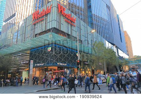 SYDNEY AUSTRALIA - JUNE 1, 2017: Unidentified people visit Westfield department store. Westfield is an Australian shopping centre company founded in 1960.