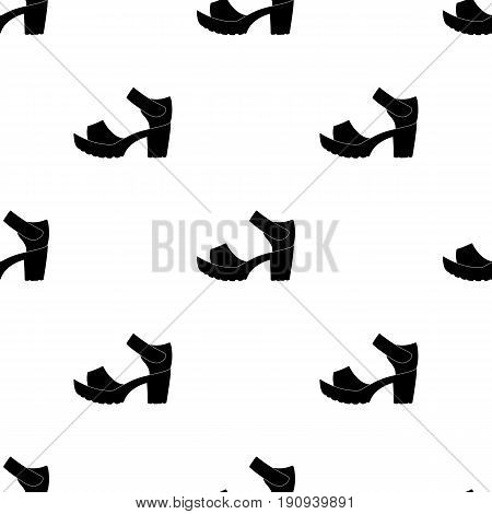 Women summer white sandals on a bare foot.Different shoes single icon in black pattern vector symbol stock web illustration.