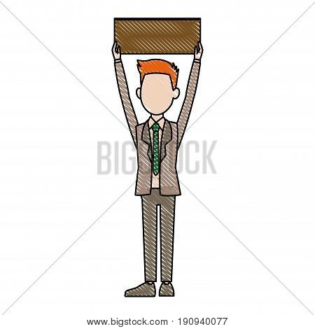 man character advertising elections holding up blank placard vector illustration