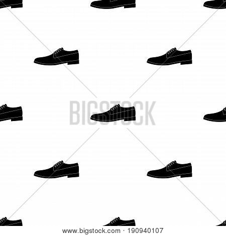 Mens leather shiny shoes with laces. Shoes to wear with a suit.Different shoes single icon in black pattern vector symbol stock web illustration.