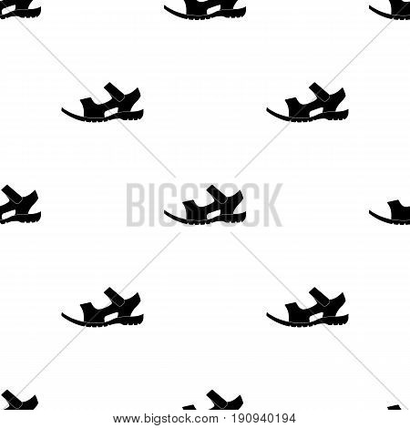 Men summer brown leather sandals on a bare foot.Different shoes single icon in black pattern vector symbol stock web illustration.