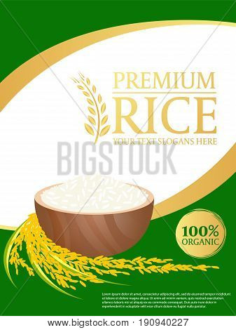 white rice and paddy rice on gold green background Layout template Vector design