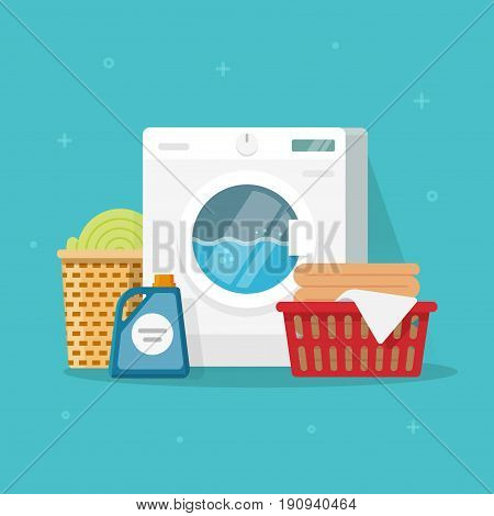 Laundry machine with washing clothing and linen vector illustration, flat carton style washer with baskets of linen and detergent, concept of domestic housework clipart