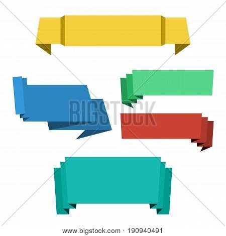 Colored different origami paper banners ribbons for sale. Vector set of flat banners design for advertising with space for text