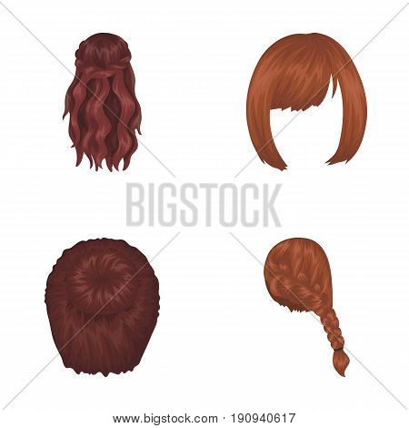 Kara, red braid and other types of hairstyles. Back hairstyle set collection icons in cartoon style vector symbol stock illustration .