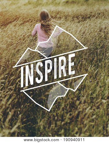 Inspiration word on nature field background