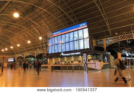 SYDNEY AUSTRALIA - JUNE 1, 2017: Unidentified people travel at Central train station.