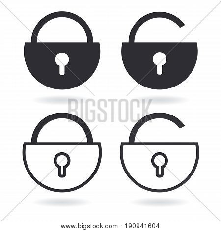 Vector Lock outline icon and black Lock icon isolated on white. Set of security symbol for your web site design logo app UI