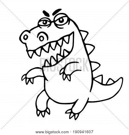 Angry cartoon dragon. Vector illustration. Cute imaginary animal character.