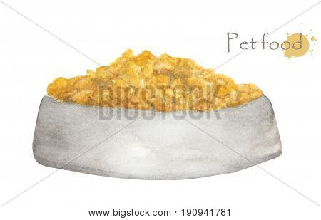 Hand drawn watercolor painting of Pet food in bowl, isolated on white