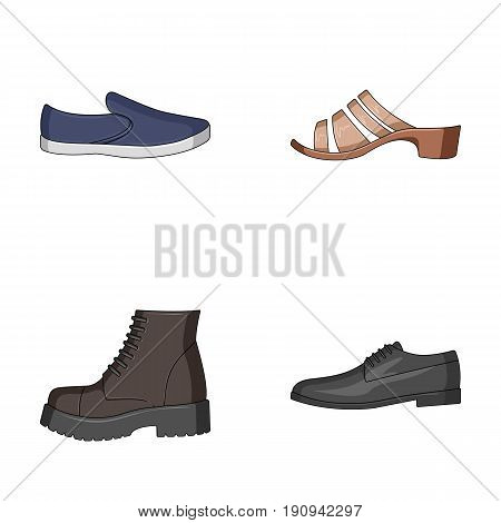 A set of icons on a variety of shoes.Different shoes single icon in cartoon style vector symbol stock illustration.