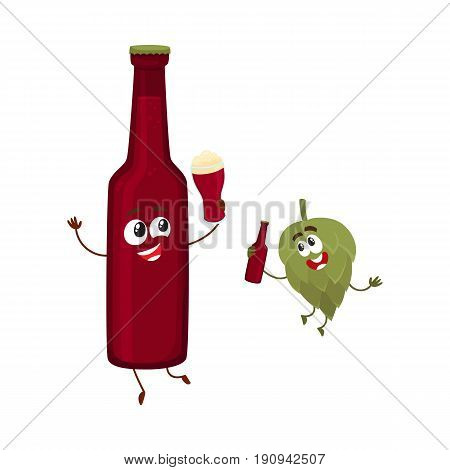 Funny beer bottle and hop characters having fun, drinking, holding glasses, cartoon vector illustration isolated on white background. Funny beer bottle and hop characters with smiling human faces