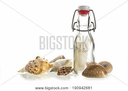 bye bye message in a bottle made of glass between some sea shells isolated on a white background