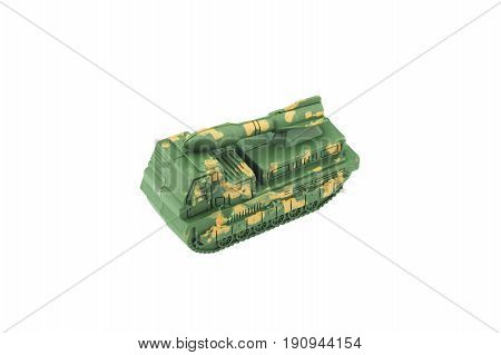Military car isolated on white background .