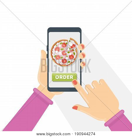 Ordering pizza through smartphone. Woman holding device.