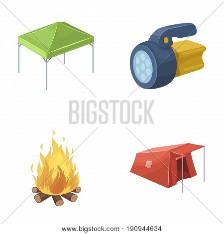 Awning, fire and other tourist equipment.Tent set collection icons in cartoon style vector symbol stock illustration .