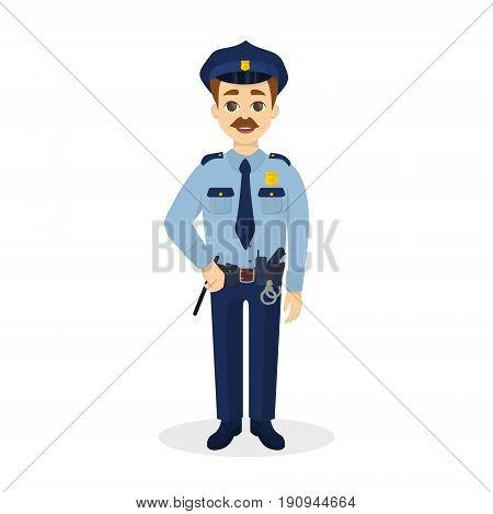 Isolated happy policeman on white background. Happy positive man.
