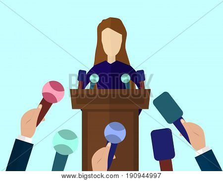 Press Conference Public Speaker vector illustration in flat style. Live report news concept. Many journalists's hands with microphones and woman standing at the rostrum and giving interview.