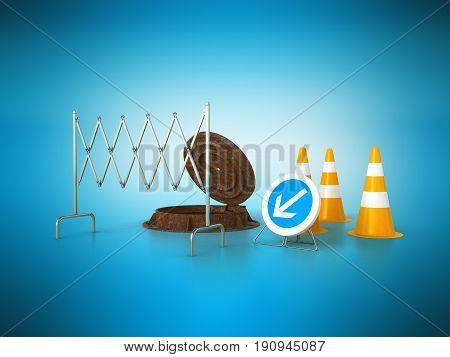 Concept Of Sewerage 3D Render On Blue Background Sewer Hatch Orange Cone Fence