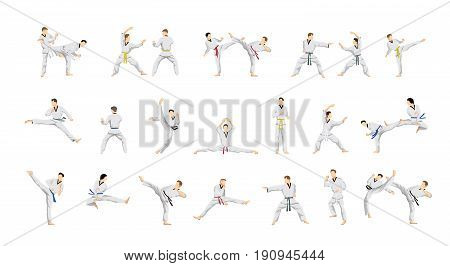 Taekwondo sport set. People in uniform with movement.