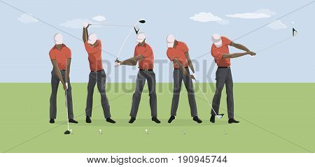 Golf player motions. Step by step motion of ball kicking.