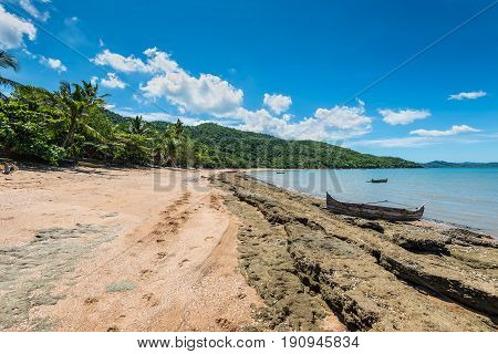 Wide-angle view of the picturesque coastline near Ampasipohy village Nosy Be Island Madagascar