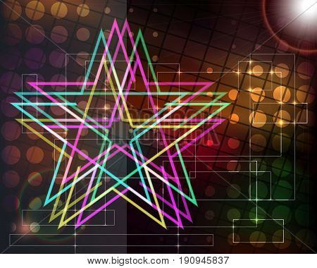 Abstract techno background with stars. Vector illustration.
