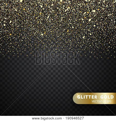 Vector luxury black background with gold sparklers. Christmas decoration. 2018 Happy new year. Gold Shining Pattern. Glitter gold particles light shine effect on transparent vector background