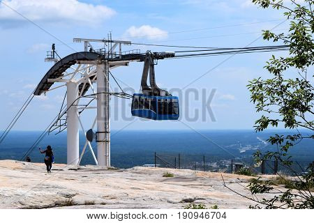 Cable Car Lift carrying people to the top of Stone Mountain, Geogia