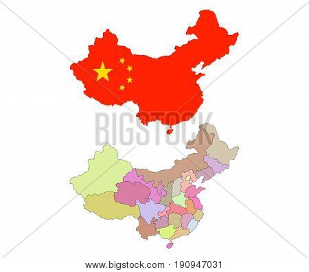 China map with colorful regions and borders. PRC map and flag. Isolated on white. Vector illustration.