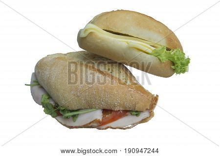 Vegetarian and Non Vegetarian Baguette Sandwiches Isolated on White
