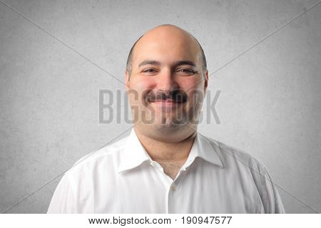 satisfied man with mustache