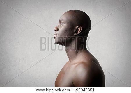 Profile of handsome black man
