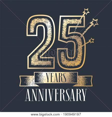 25 years anniversary vector icon logo. Graphic design element with ribbon and golden color and grunge texture number for 25th anniversary ceremony