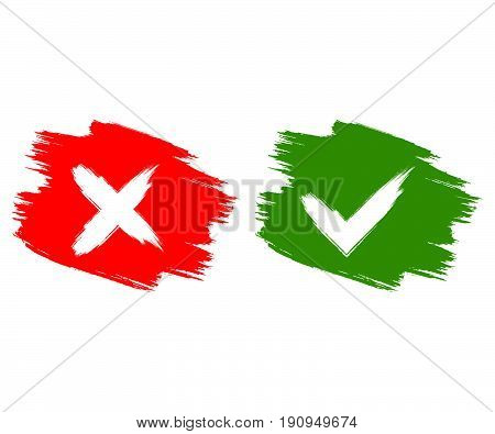 Vector check box doodle red and green. Checkmark Ok and No icons. Tick and cross button flat for web. Isolated illustration.