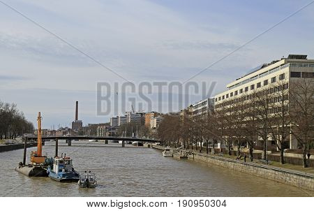 River Aura In Center Of Finnish City Turku