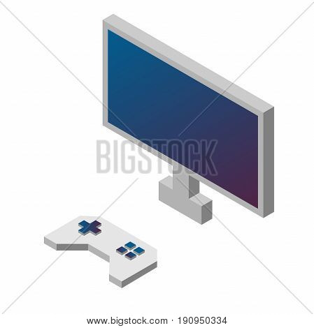 Game controller and monitor. Gamepad Isometric Illustration . Video game .