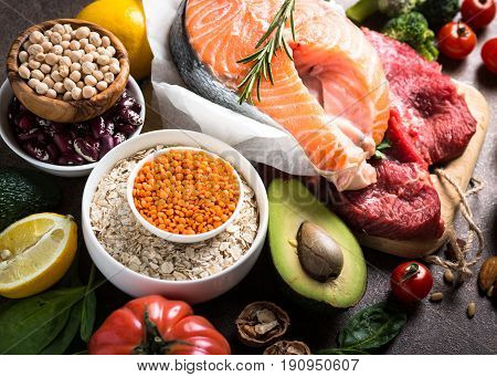 Balanced diet food background. Organic food for healthy nutrition. Ingredients for cooking. Food assortment.