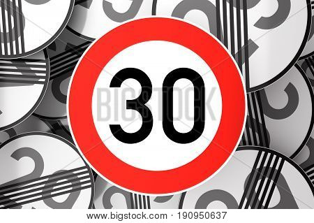 Reaching The 30Th Birthday Illustrated With Traffic Signs