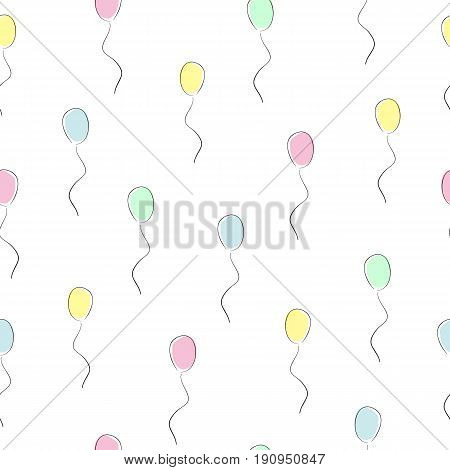 Seamless pattern with multicolored balloons on a white background. Children's cheerful texture for decoration, textiles and different types of design