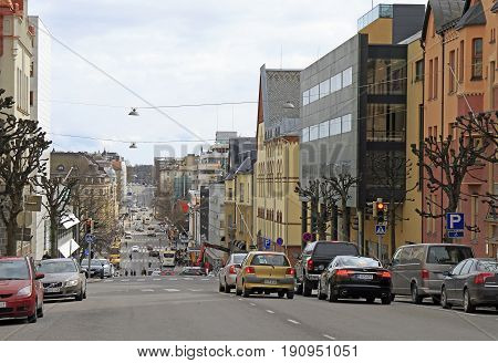 Road In The Center Of Turku, Finland