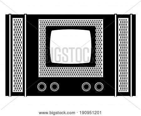 tv old retro vintage icon stock vector illustration black outline silhouette isolated on white background