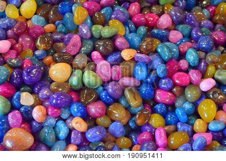 vibrant colored decorative array of rocks backdrop