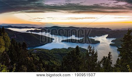 Panoramic view of the Plastiras artificial lake in Thessaly, Greece at sunrise