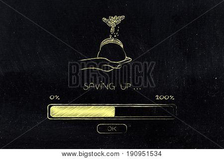 Hand Holding Coin Purse And Progress Bar Loading, Saving Process