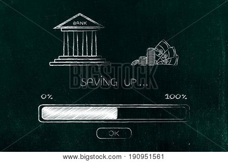 Bank Next To Cash With Progress Bar Loading, Saving Process