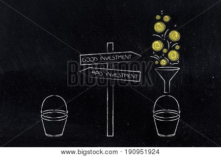 Good And Bad Investment Road Signs Next To Bucket With And Without Coins Dropping In