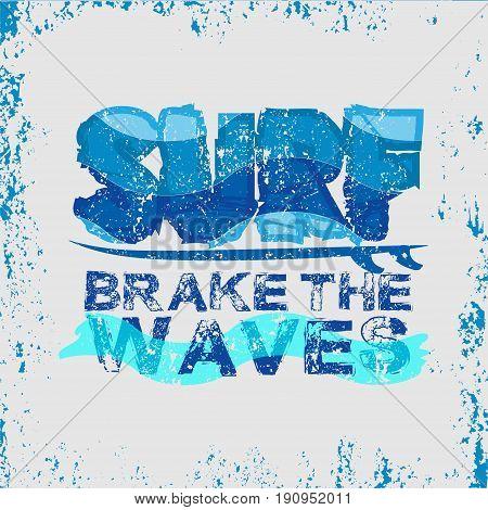 t-shirt surfing t-shirt water sportsSport wear tshirt stamp T-shirt inscription typography graphic design emblem