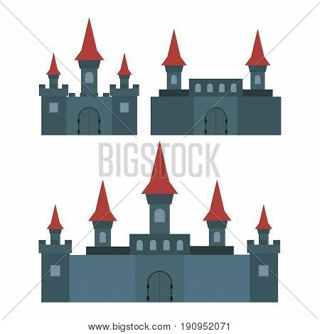 Castles and Fortresses of flat design vector icons. Set of 3 Illustrations ruins palaces and other medieval buildings.