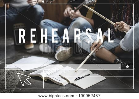 Group of people practice music rehearsal together